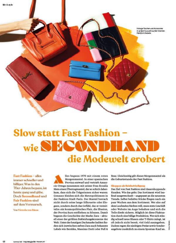 Top Magazin Frankfurt, Ausgabe Sommer 2021 - Secondhand