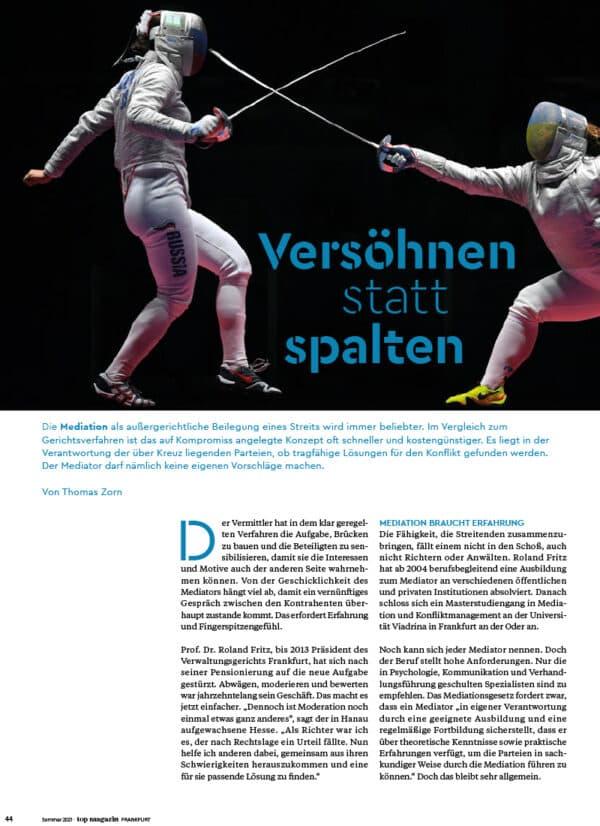 Top Magazin Frankfurt, Ausgabe Sommer 2021 - Versöhnen statt spalten
