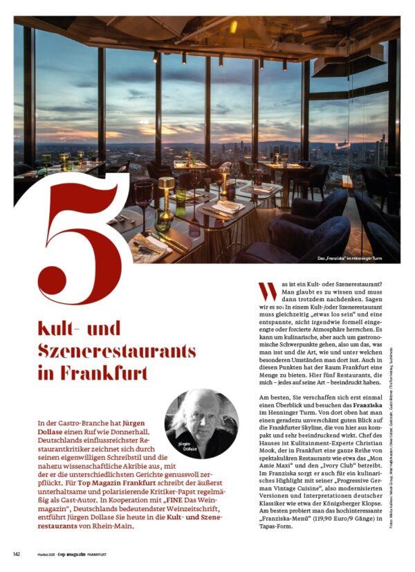 Top Magazin Frankfurt, Ausgabe Herbst 2021, Kult- und Szenerestaurants in Frankfurt