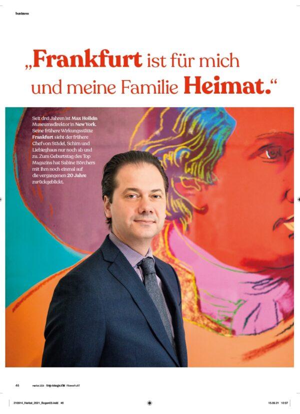 Top Magazin Frankfurt, Ausgabe Herbst 2021, Max Hollein