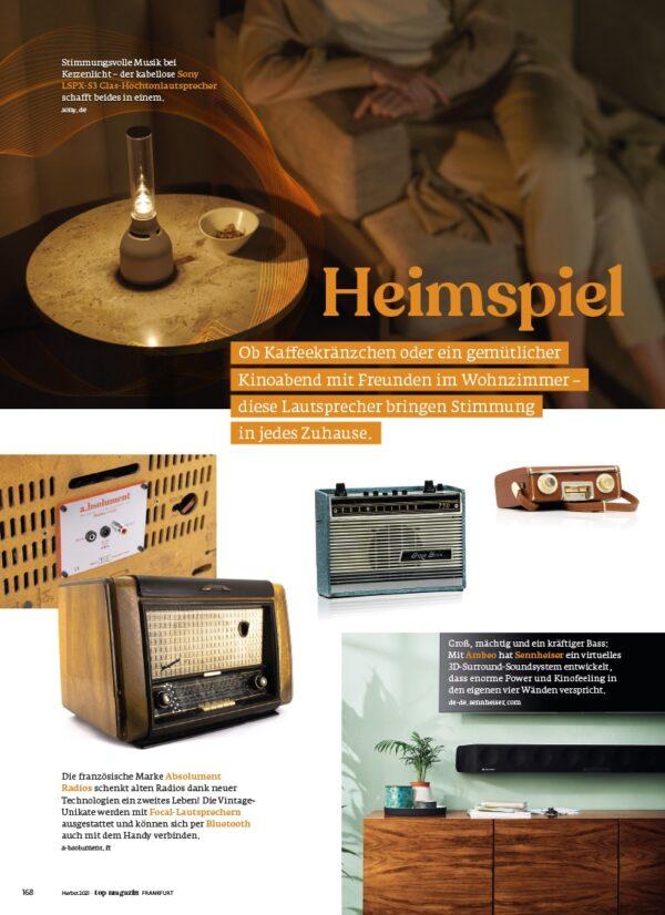 Top Magazin Frankfurt, Ausgabe Herbst 2021, Retro Speaker für Zuhause