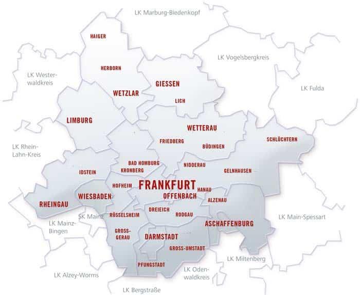 Top Magazin Frankfurt Verbreitungsgebiet Karte