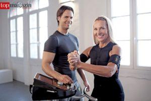 Bei EMS müssen alle Muskelgruppen angespannt werden. Ein Trainer reguliert dabei die Stromzufuhr.