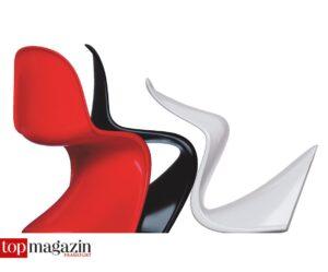 Rundlich einladend und eigenwillig - der Panton-Chair, den der Däne Verner Panton aus einem Stück Plastik in einer geschwungenen S-Form herstellte
