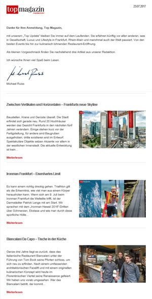 Top Magazin Newsletter - Top Update