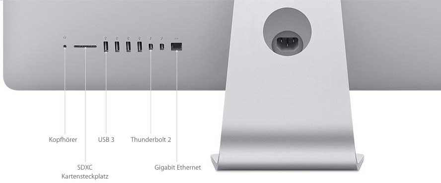 Der neue iMac hat auf der Rückseite zwei Thunderbolt 2-Anschlüsse