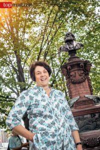 Kulturothek-Gründerin Sabine Mannel am Friedrich Stoltze Platz