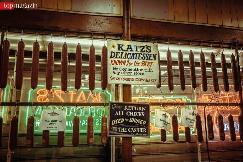 'For display only' – Würste bei Katz's Delicatessen