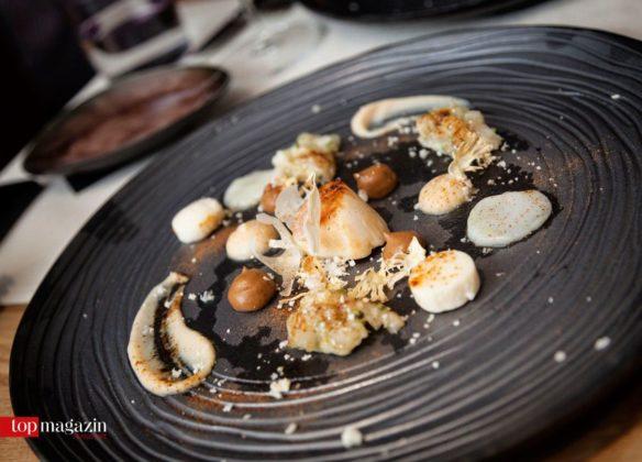 Jakobsmuschel mit Ceviche und Blumenkohl