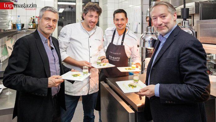 Marc Trautmann, Sternekoch André Großfeld mit Küchenchef Daniel Schmidt, Prof. Dr. Christoph Schalast