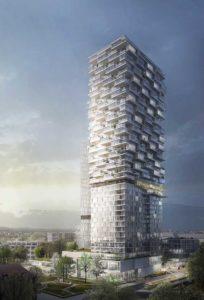 Unten Hotel, oben-Wohnhochhaus - So soll der 140-Meter hohe Turm auf dem Frankfurter AfE-Areal in Bockenheim aussehen