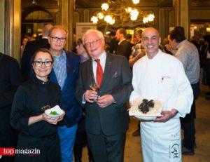 Zwei-Sterneköchin Tanja Grandits mit Gastgeber Hans B. Ullrich, Gourmet-Festival-Gründungsmitglied Michael Herrmann und der ebenfalls mit zwei Sternen dekorierte Gerhard Wiesner