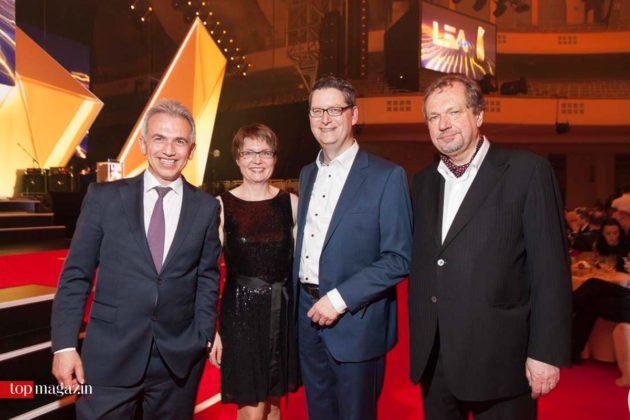 Oberbürgermeister Peter Feldmann mit Thorsten Schäfer-Gümbel, Gattin Anette Gümbel und LEA-Geschäftsführer Prof. Jens Michow