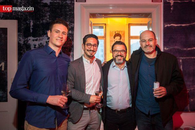 Nicolas Mertens und Sahand Khosravi (Fashion for Floors) mit Gibson-Geschäftsführer Madjid Djamegari und Interiordesigner Thommy Tritsch