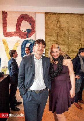 Saxophonist Tobias Rüger (Die Schwindler) mit Designerin Tina Zechner