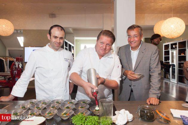 Andreas Krolik (Lafleur) mit Christoph Rainer (Tiger-Gourmetrestaurant) und Journal Frankfurt Geschäftsführer Dr. Jan-Peter Eichhorn