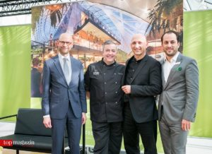 Das Planungsteam - Steffen Friedlein (ECE), Food-Berater Jonathan Doughty, ECE-Chefarchitekt Marc Blum und MyZeil-Center-Manager Marcus Schwartz.