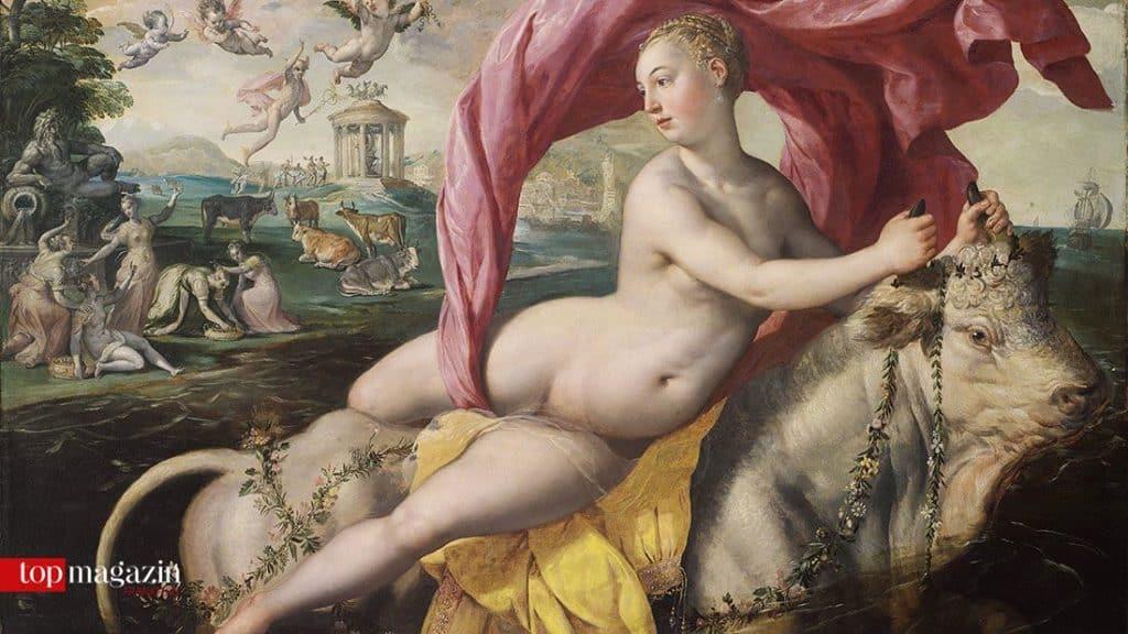 In Martin de Vos' Gemälde entführt Göttervater Zeus, als Stier verwandelt, die Königstochter Europa