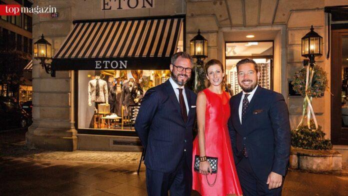 Global Sales Director Erik Wilkinson mit Eton-CMO Carina Ertl und Sales Director Oliver Lübbenjans