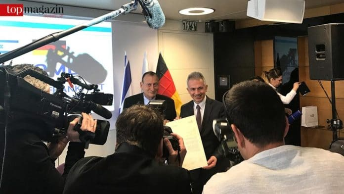 Tel Avivs Bürgermeister Ron Huldai mit Frankfurts Oberbürgermeister Peter Feldmann