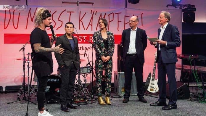 DMK-Botschafter Tom Belz und Jack Culcay mit Andrea Petkovic, Johann G.v. Keussler und Wolf-Dieter Poschmann