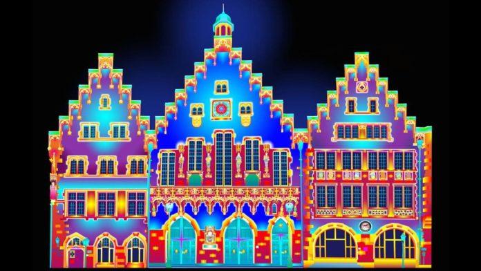 Lichtinstallation am Römer anlässlich der Buchmesse 2017