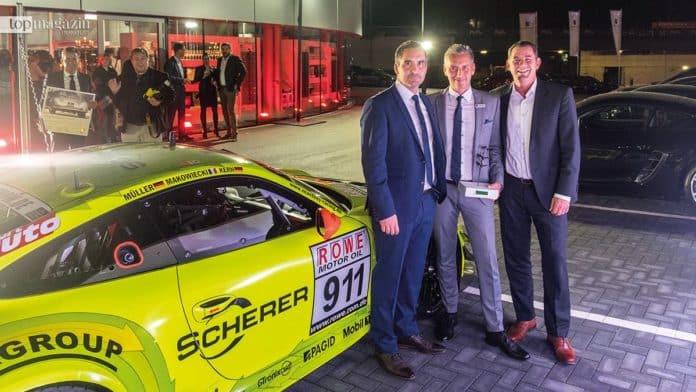 Christian Scherer, Porsche Wiesbaden-Chef Mario Sarac und Wiesbadens OB Sven Gerich