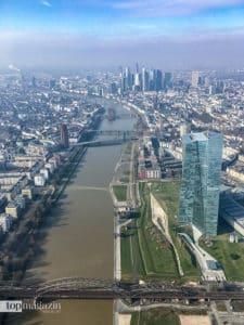Einmaliger Blick über EZB und Ostend bis hin zu den Hochhäusern des Bankenviertels