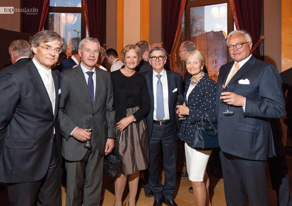Franz-Josef Nick, Ex-Deutsche Bank-Chef Jürgen Fitschen mit Friederike Lohse, Dr. Nader Maleki und Barbara und Rolf Breuer beim Internationalen Deutschen Pianistenpreis 2015