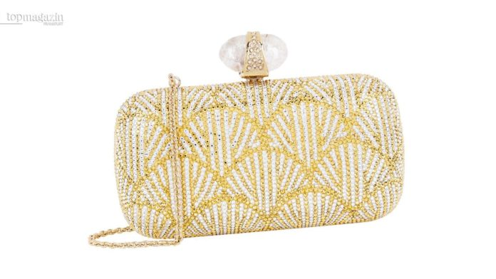 Pearl Pattern Stone Clasp Clutch by Judith Leiber