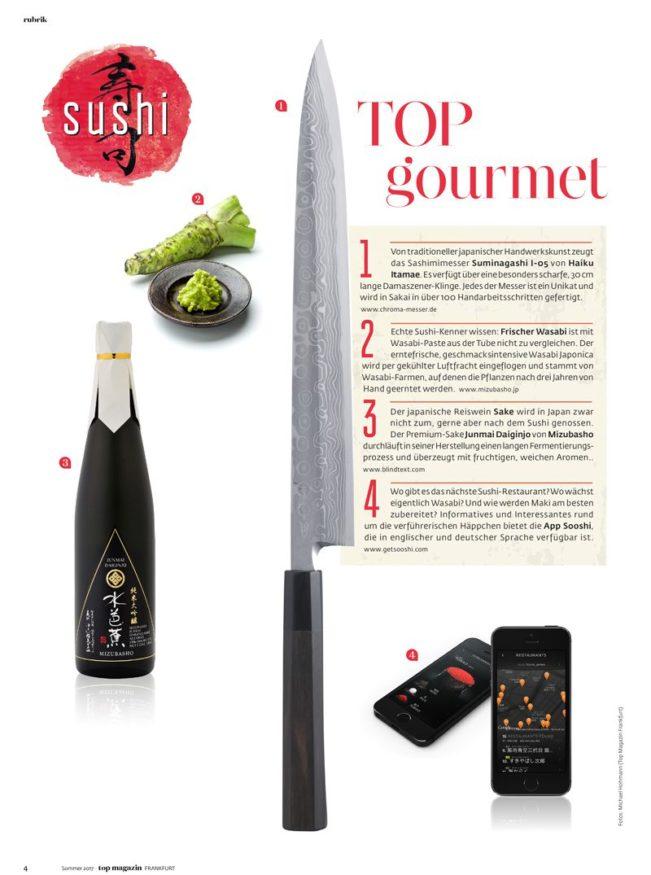 Sushi Guide – Top Magazin Frankfurt, Ausgabe Sommer 2018