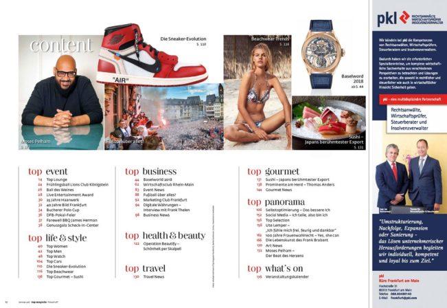 Content – Top Magazin Frankfurt, Ausgabe Sommer 2018