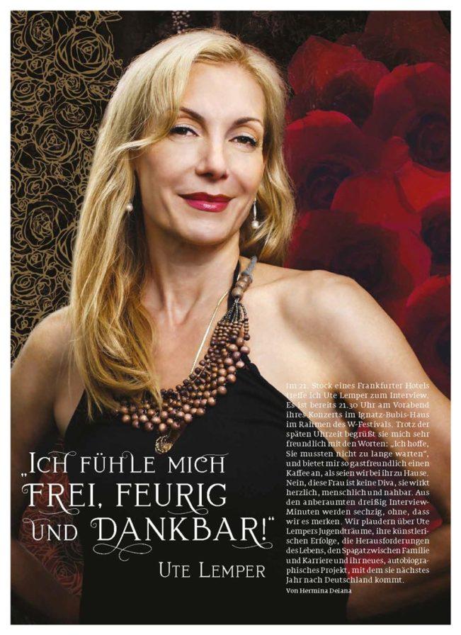 Portrait Ute Lemper – Top Magazin Frankfurt, Ausgabe Sommer 2018