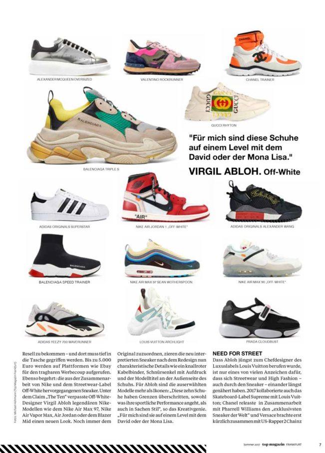 Sneaker-Evolution – Top Magazin Frankfurt, Ausgabe Sommer 2018