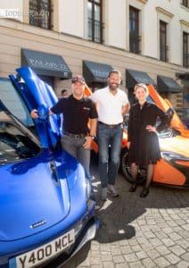 Ralf Kern (Top Magazin) mit Frank Steffling (McLaren) und Iris Königsdorff (Villa Kennedy)
