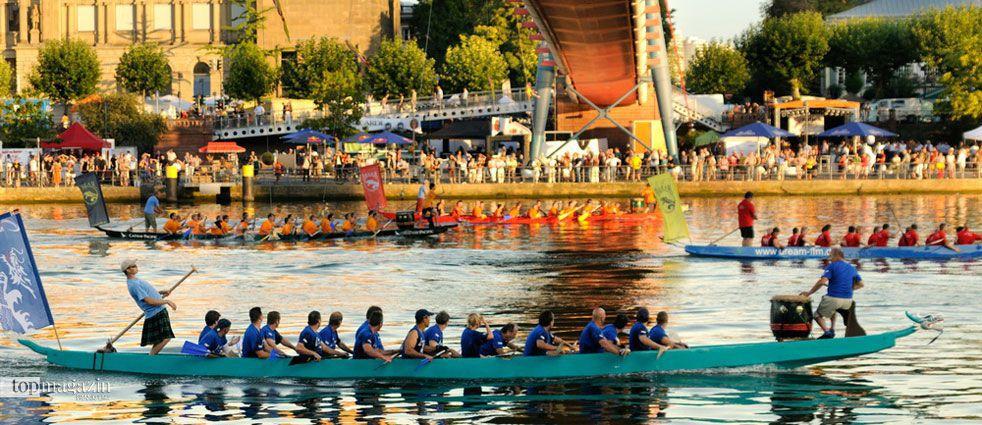 Die Drachenbootrennen beim Museumsuferfest sind die zweitältesten Wettkämpfe dieser Art in Deutschland