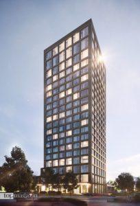 Der Hotelturm des Roomers Parkview wird 19 Stockwerke umfassen