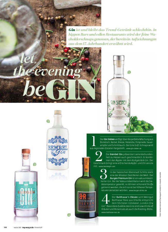 Gin aus Hessen, Top Magazin Frankfurt, Ausgabe Herbst 2018
