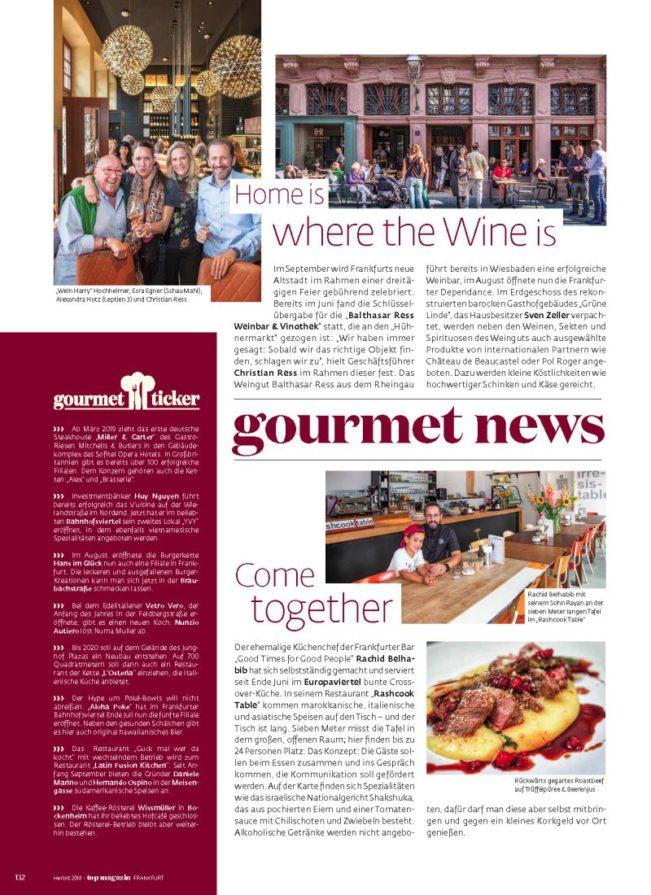 Gourmet News, Top Magazin Frankfurt, Ausgabe Herbst 2018