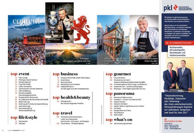 Inhaltsverzeichnis, Top Magazin Ausgabe Herbst 2018