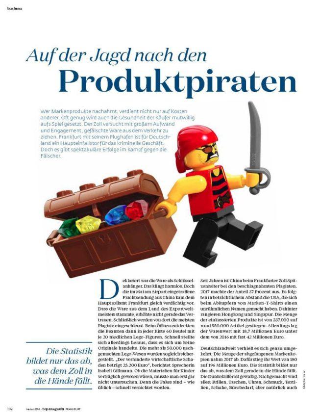 Jagd auf Produktpiraten, Top Magazin Frankfurt, Ausgabe Herbst 2018