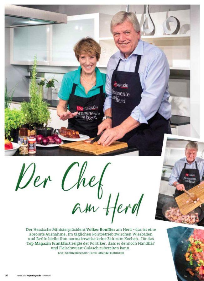 Ministerpräsident Volker Bouffier am Herd, Top Magazin Frankfurt, Ausgabe Herbst 2018