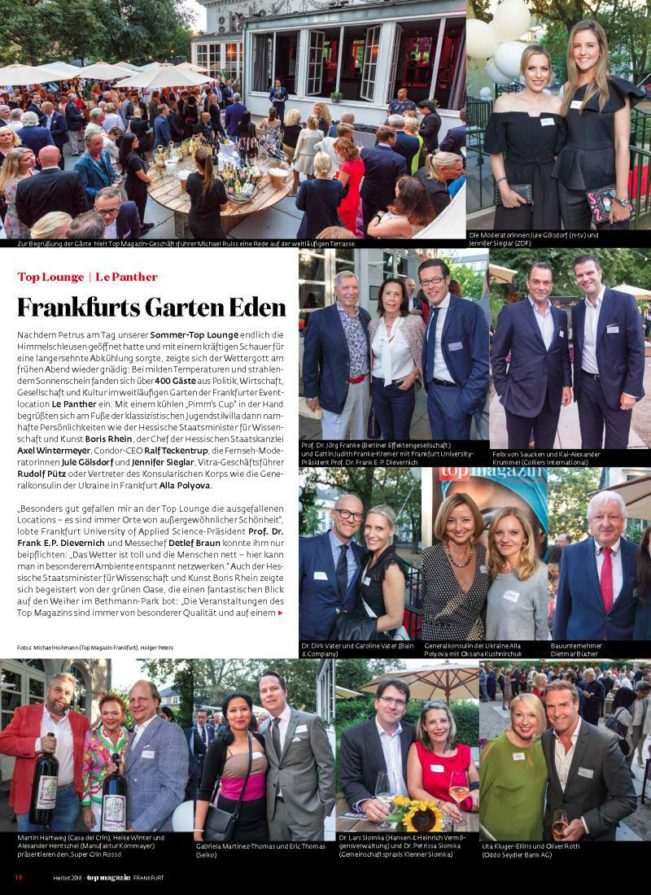 Top Lounge Le Panther, Top Magazin Frankfurt, Ausgabe Herbst 2018
