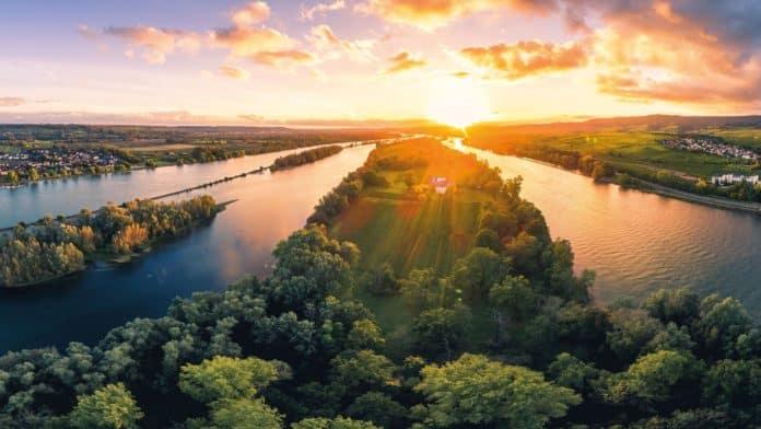 Die Mariannenaue zwischen Erbach und Hattenheim ist die größte Insel im Rhein (Foto Filmagentur Rheingau, Fotograf Woody T. Herner)