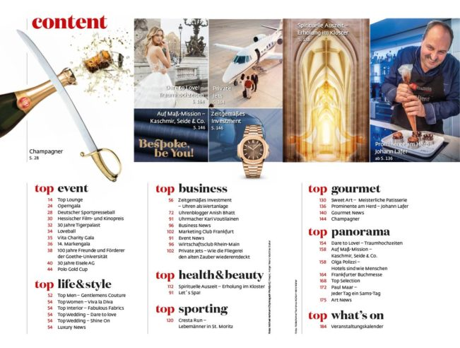 Inhaltsverzeichnis, Top Magazin Frankfurt, Ausgabe Winter 2018