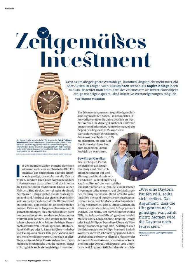 Investieren in Uhren, Top Magazin Frankfurt, Ausgabe Winter 2018