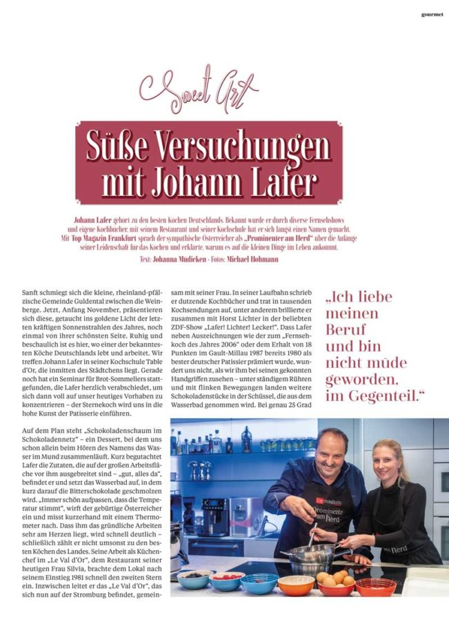 Johann Lafer, Top Magazin Frankfurt, Ausgabe Winter 2018