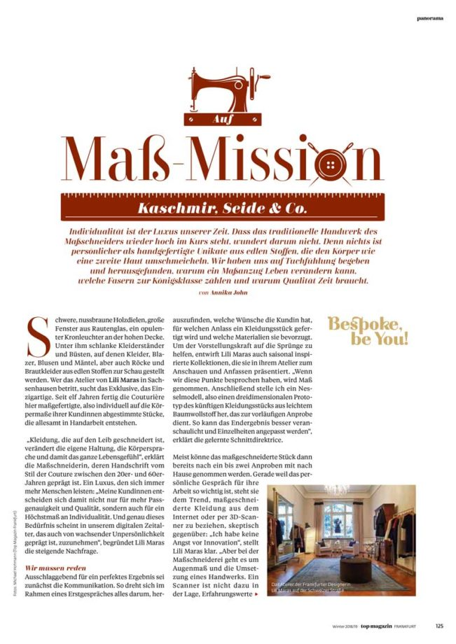 Mass Mission, Top Magazin Frankfurt, Ausgabe Winter 2018