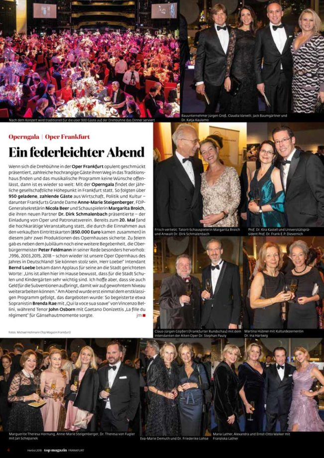 Operngala, Top Magazin Frankfurt, Ausgabe Winter 2018