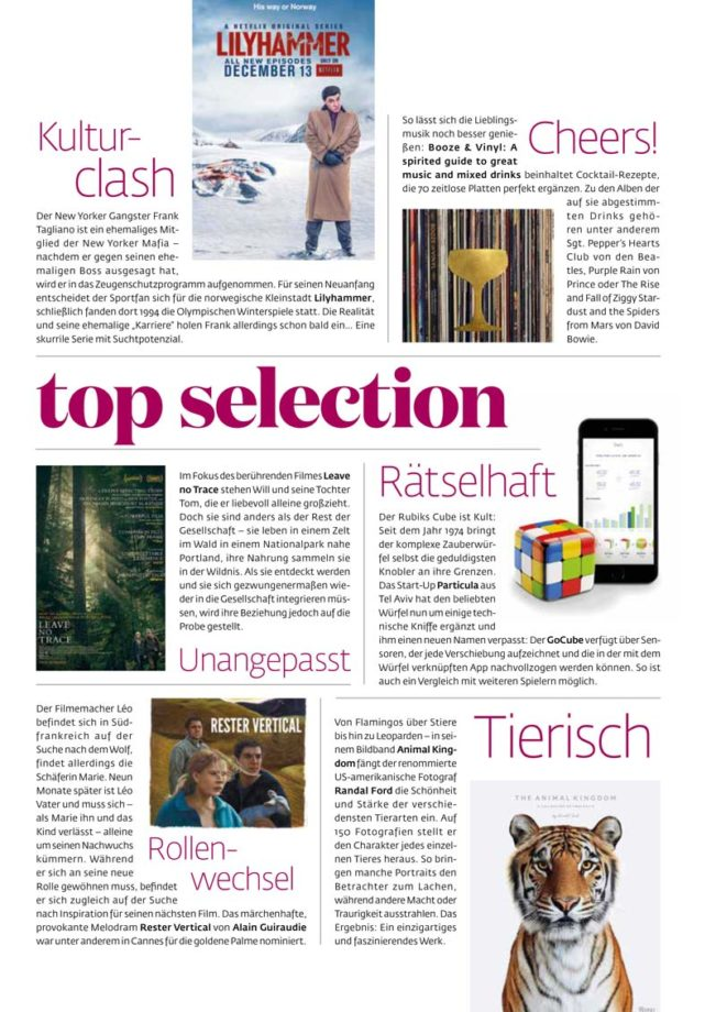 Selection, Top Magazin Frankfurt, Ausgabe Winter 2018